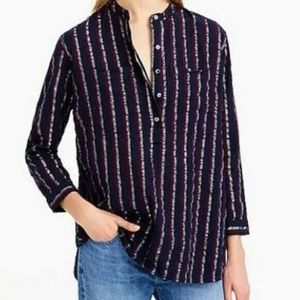 J.Crew Metallic Stripe Popover Top 0